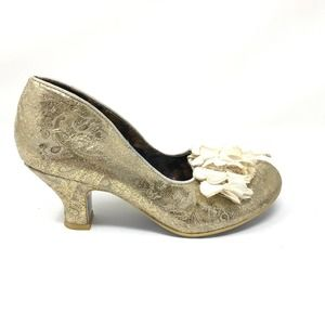 Irregular Choice 36 US 5.5 Bridal Heel Gold Fabric